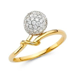 New 14K Yellow Gold CZ Promise Ring Band